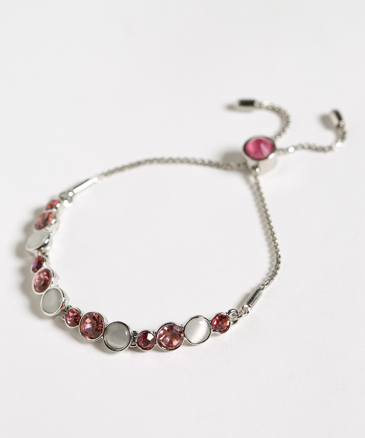 Rose Crystal Adjustable Bracelet, Rose/White/Silver, hi-res
