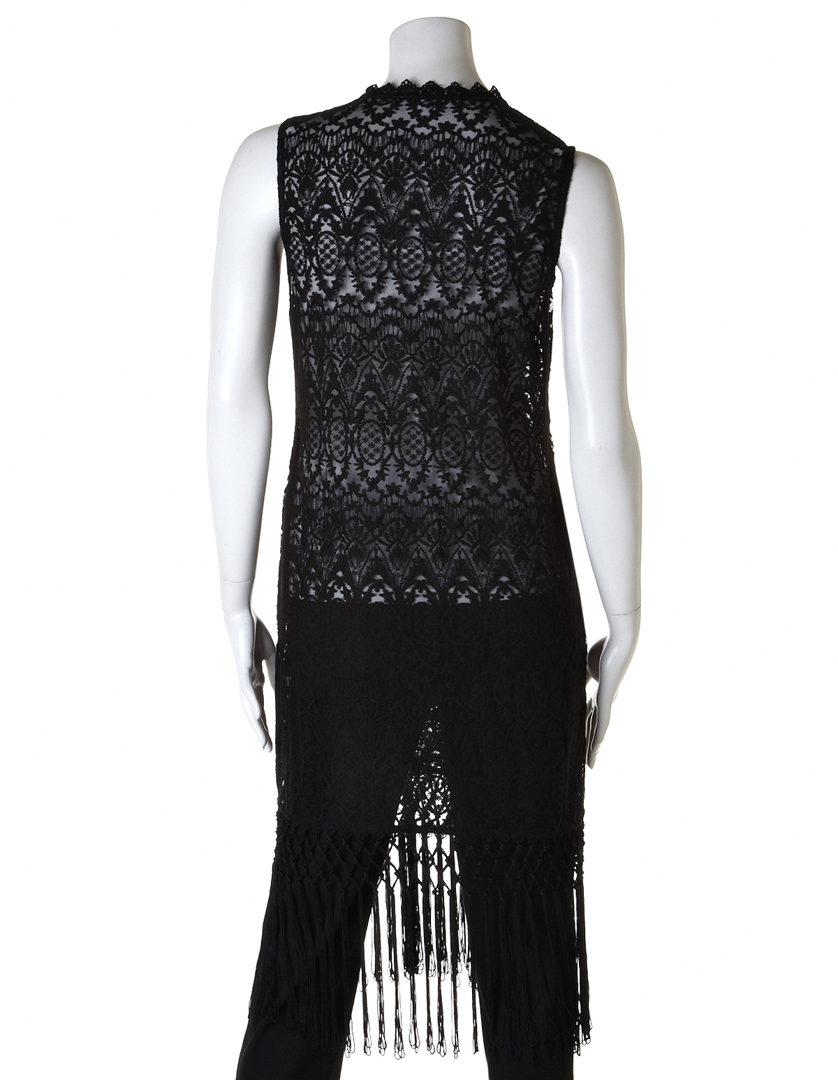 cc5126b72fa9 ... Fringed Crochet Sweater Vest, Black, hi-res ...