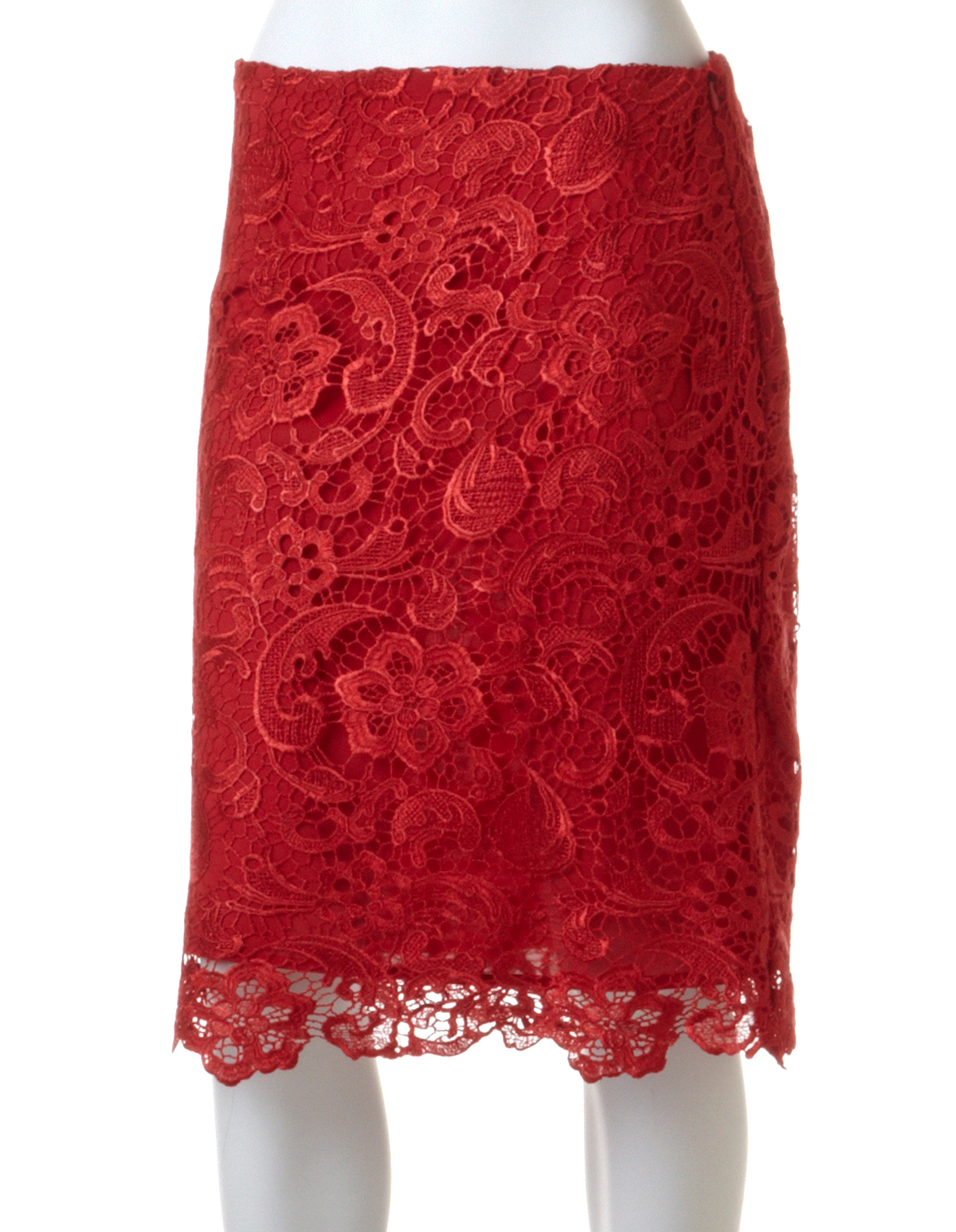 Red Lace Pencil Skirt | Cleo