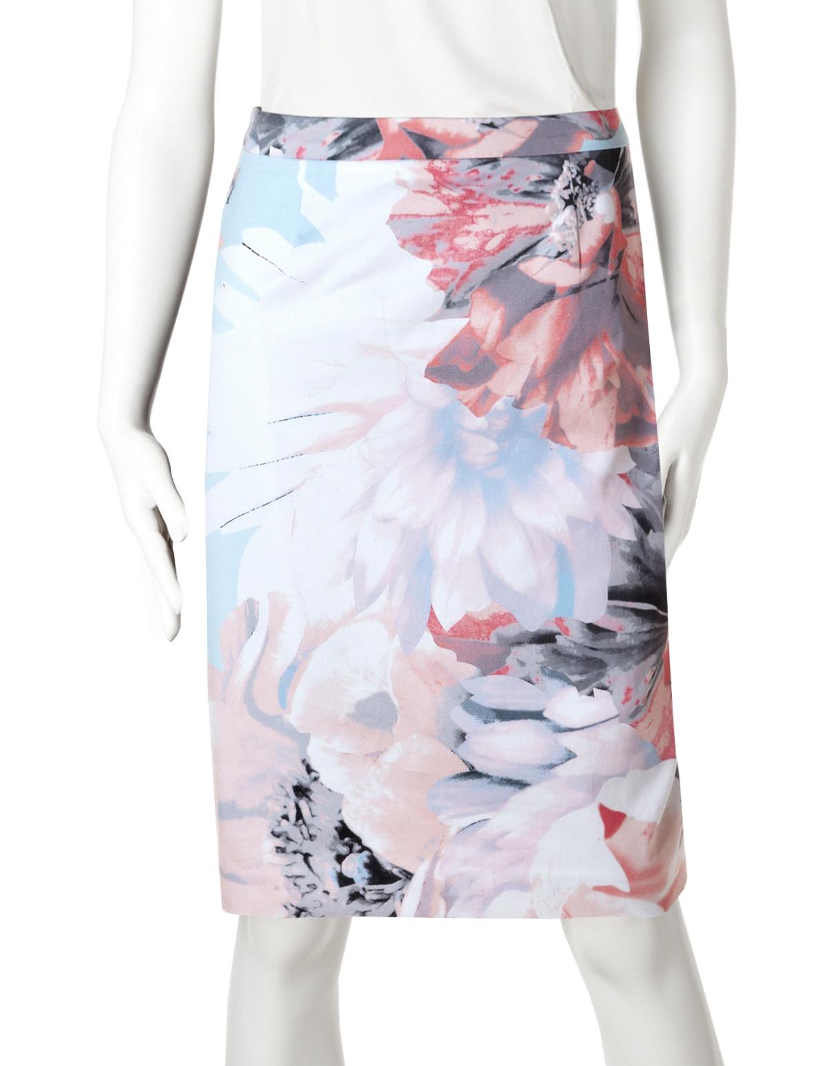 23de159cc Pastel Floral Pencil Skirt, Pink/Cloud/White/Grey/Coral, hi