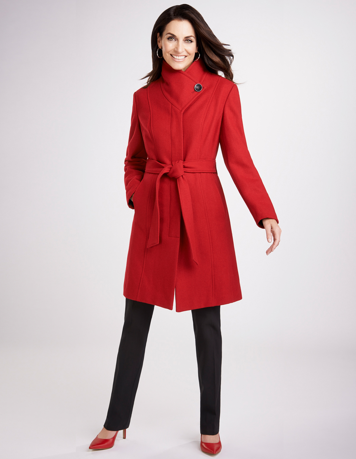 Red Wrap Collar Coat with Belt | Cleo