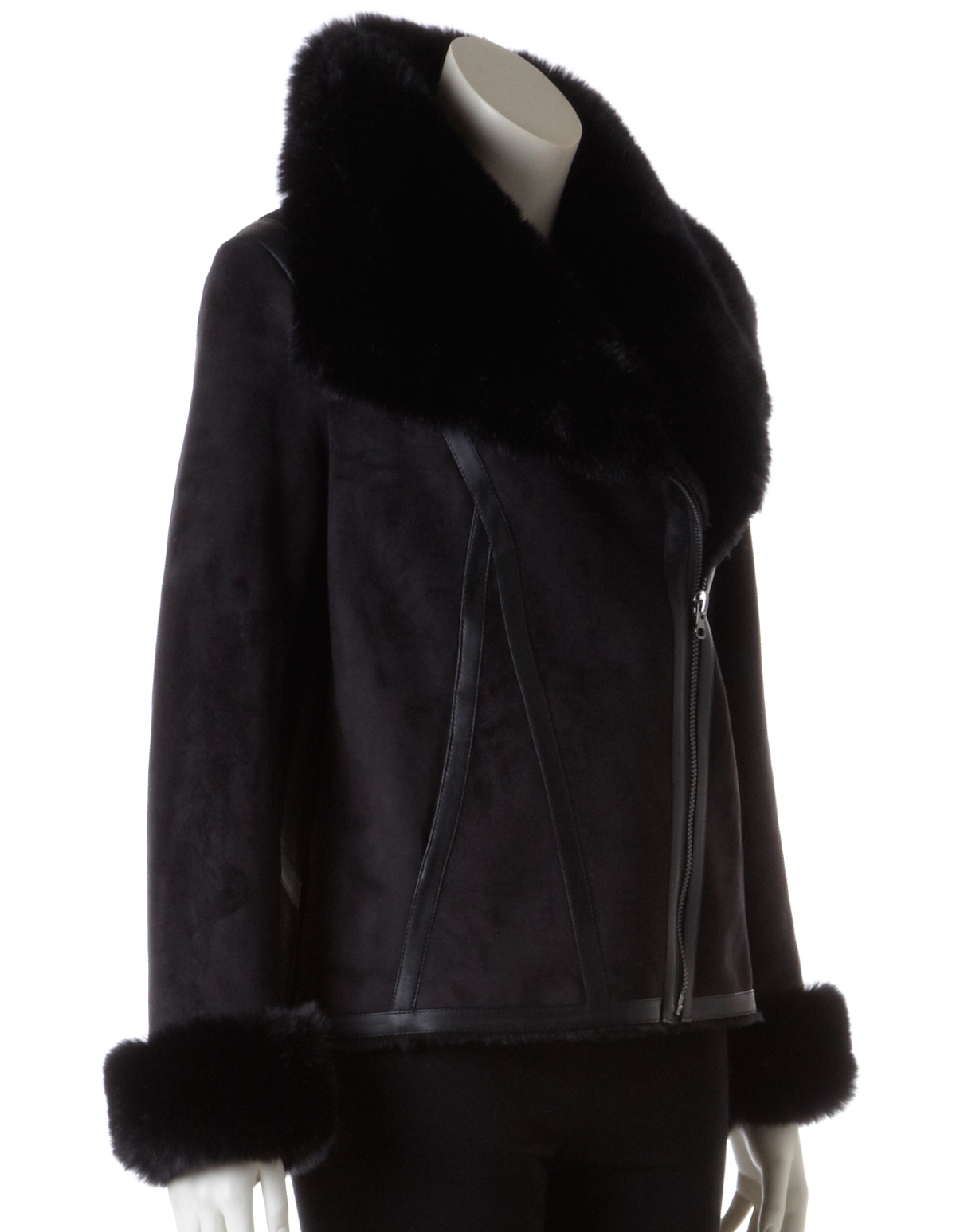 Black Faux Shearling Coat | Cleo