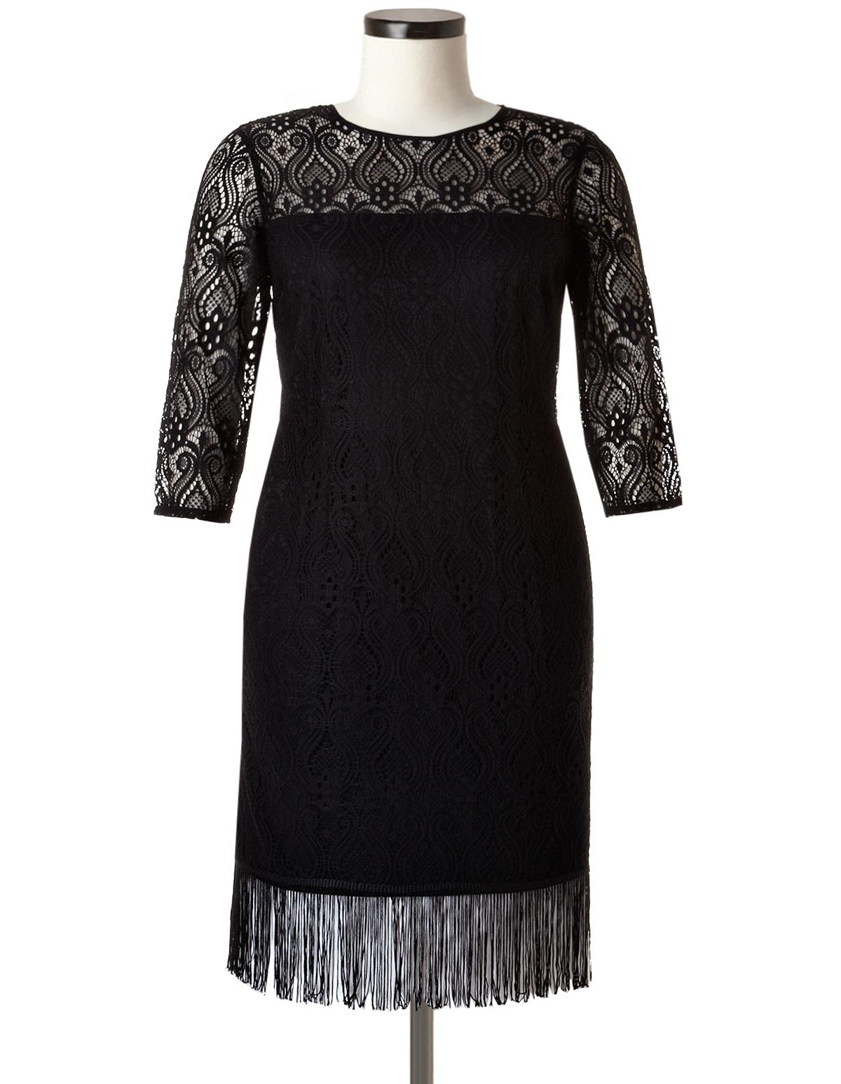 Plus Size Lace Fringe Sheath Dress | Cleo