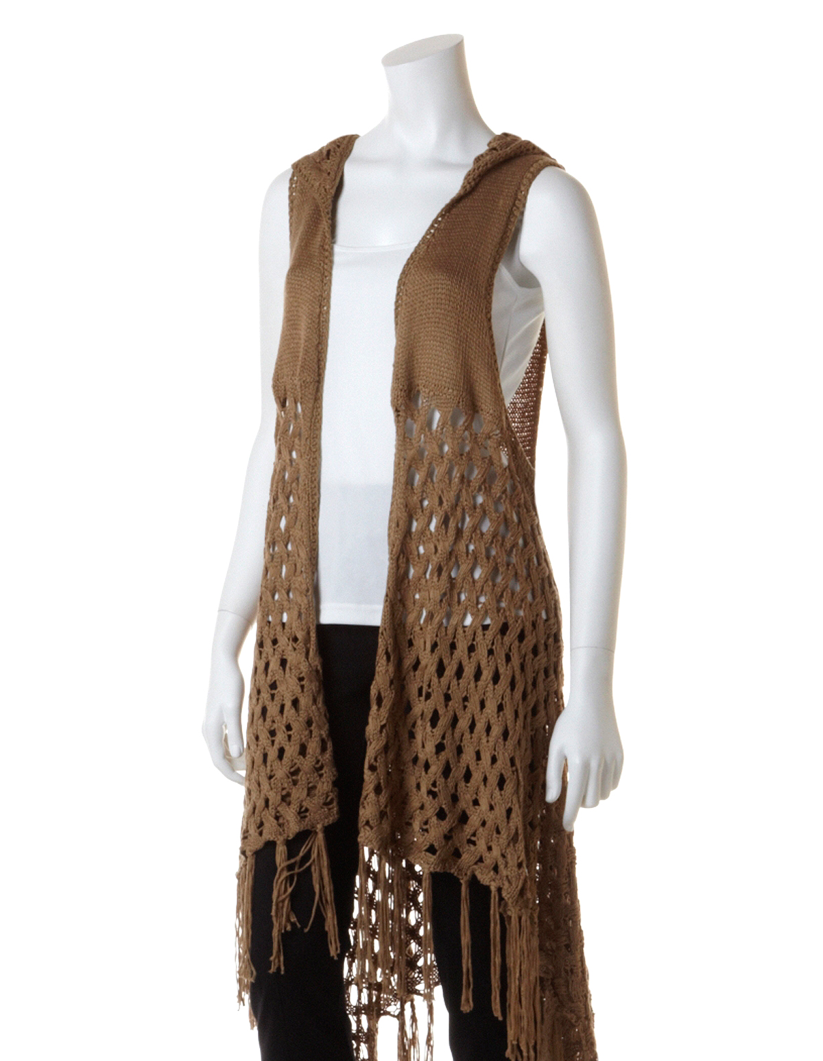 Fringed Crochet Sweater Vest, Jute Brown, Hires