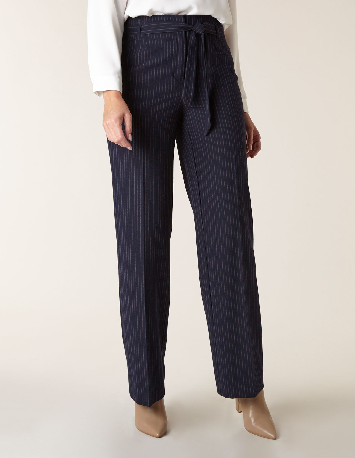 Navy Striped Soft Belted Trouser, Navy, hi-res
