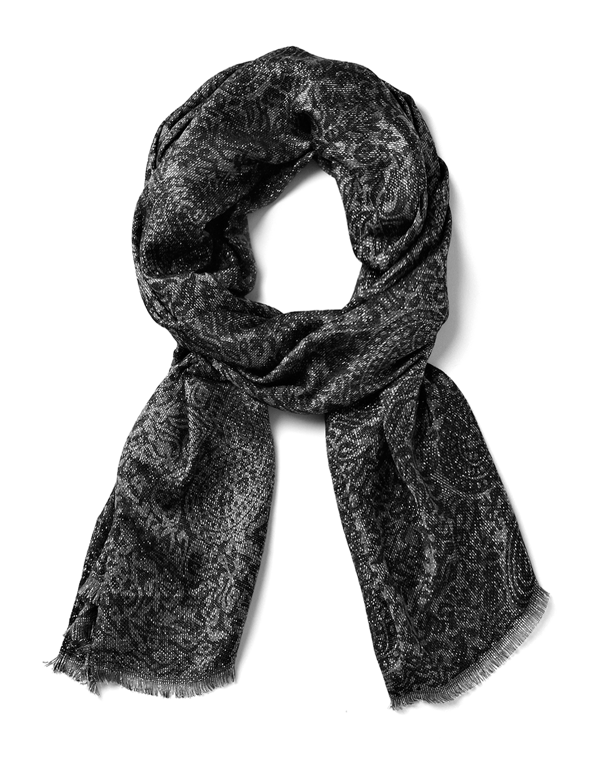 Grey Paisley Silver Sparkle Scarf | Cleo