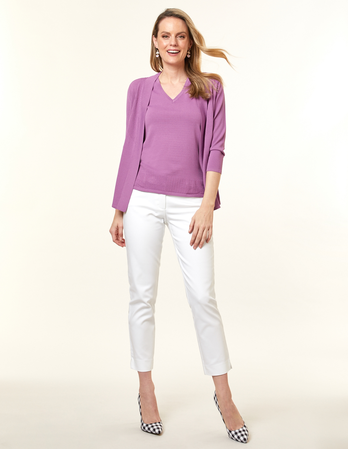 Violet Pointelle Knit Cardigan, Purple/Violet, hi-res