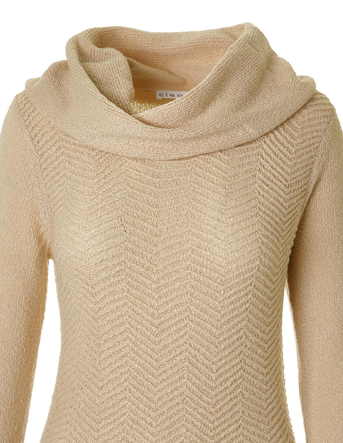 Zig Zag Knit Cowl Sweater Cleo