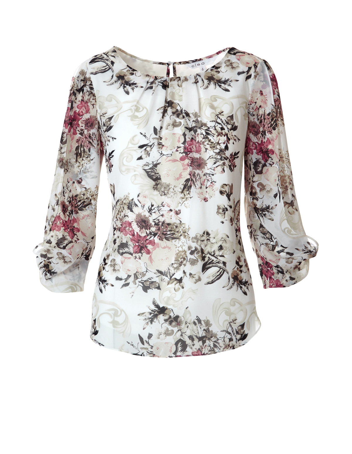 87915a24eca5 3/4 Sleeve Butterfly Blouse, Ivory/Stone/Clay, hi-res