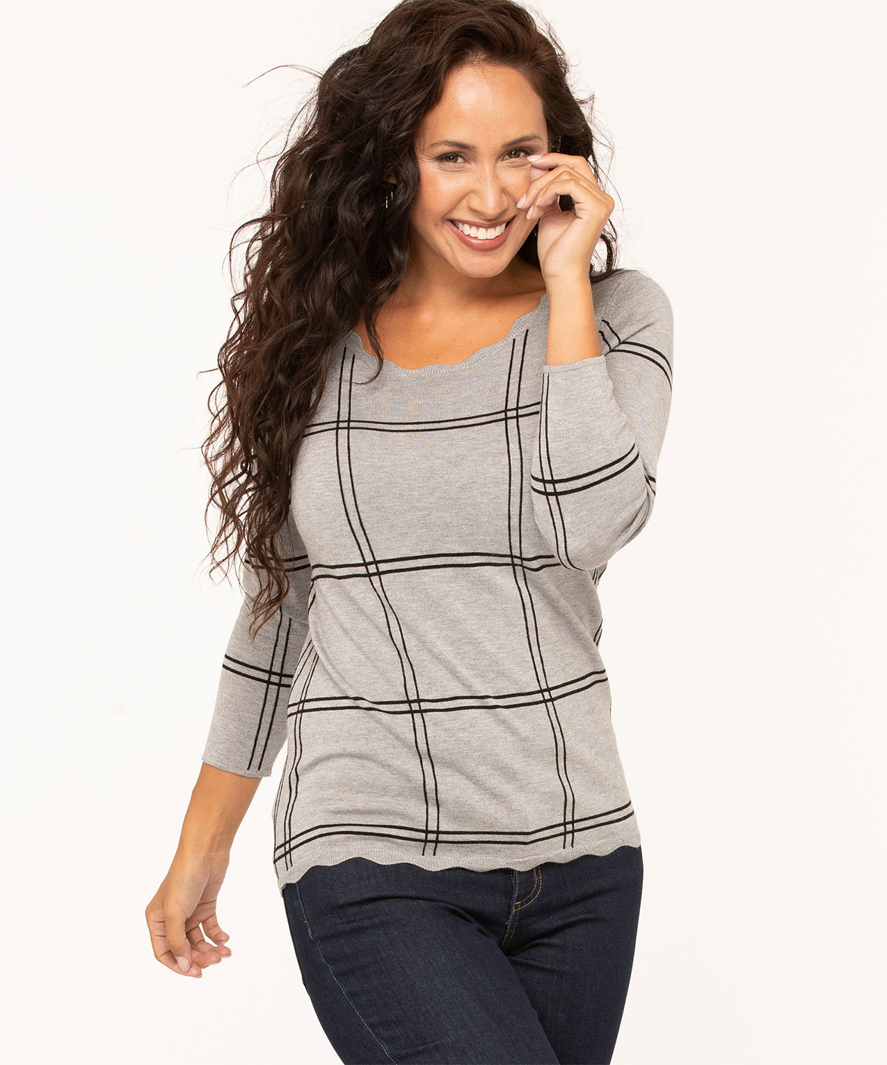 Scallop Edge Essential Sweater, Grey, hi-res