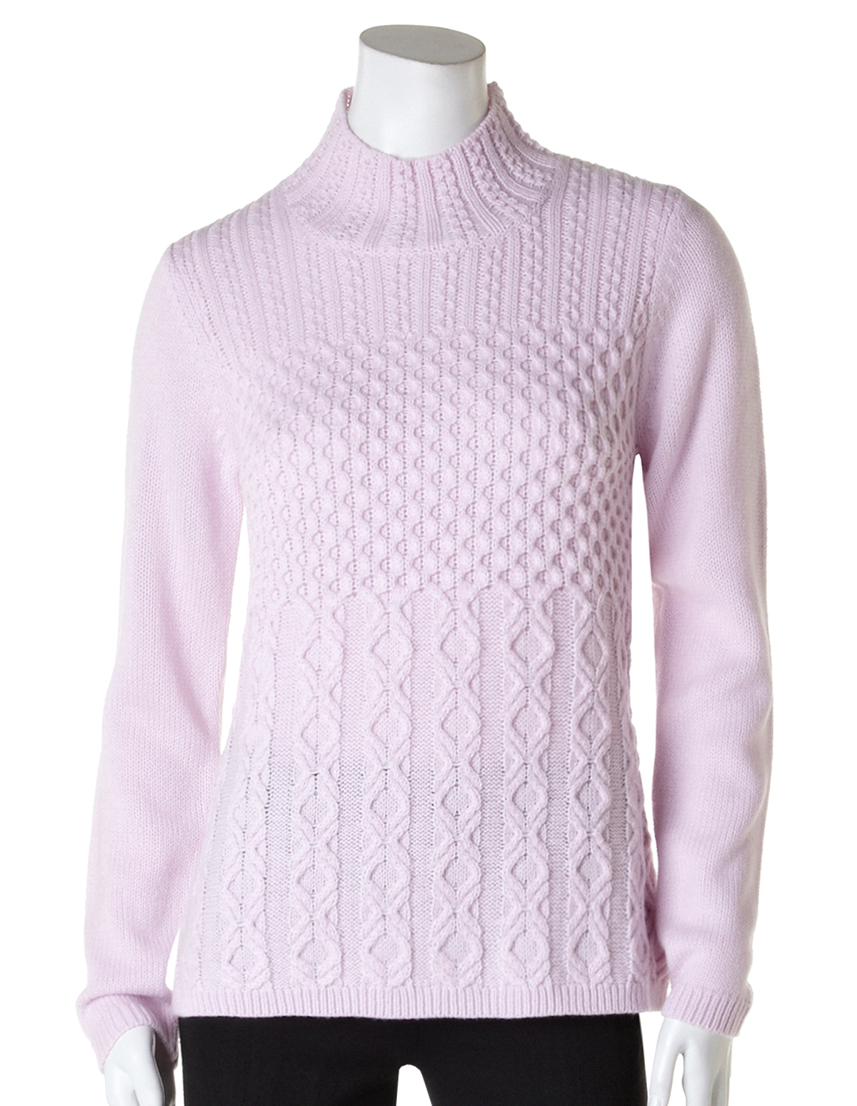 Cable Knit Mock Neck Sweater | Cleo