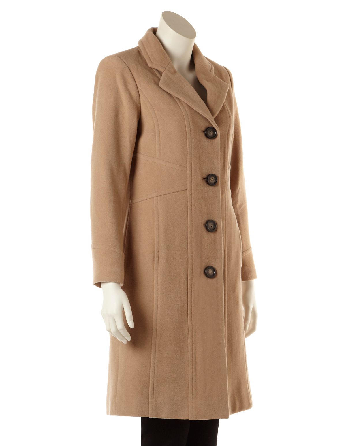 Long Camel Wool Topper Coat (Petite Only)