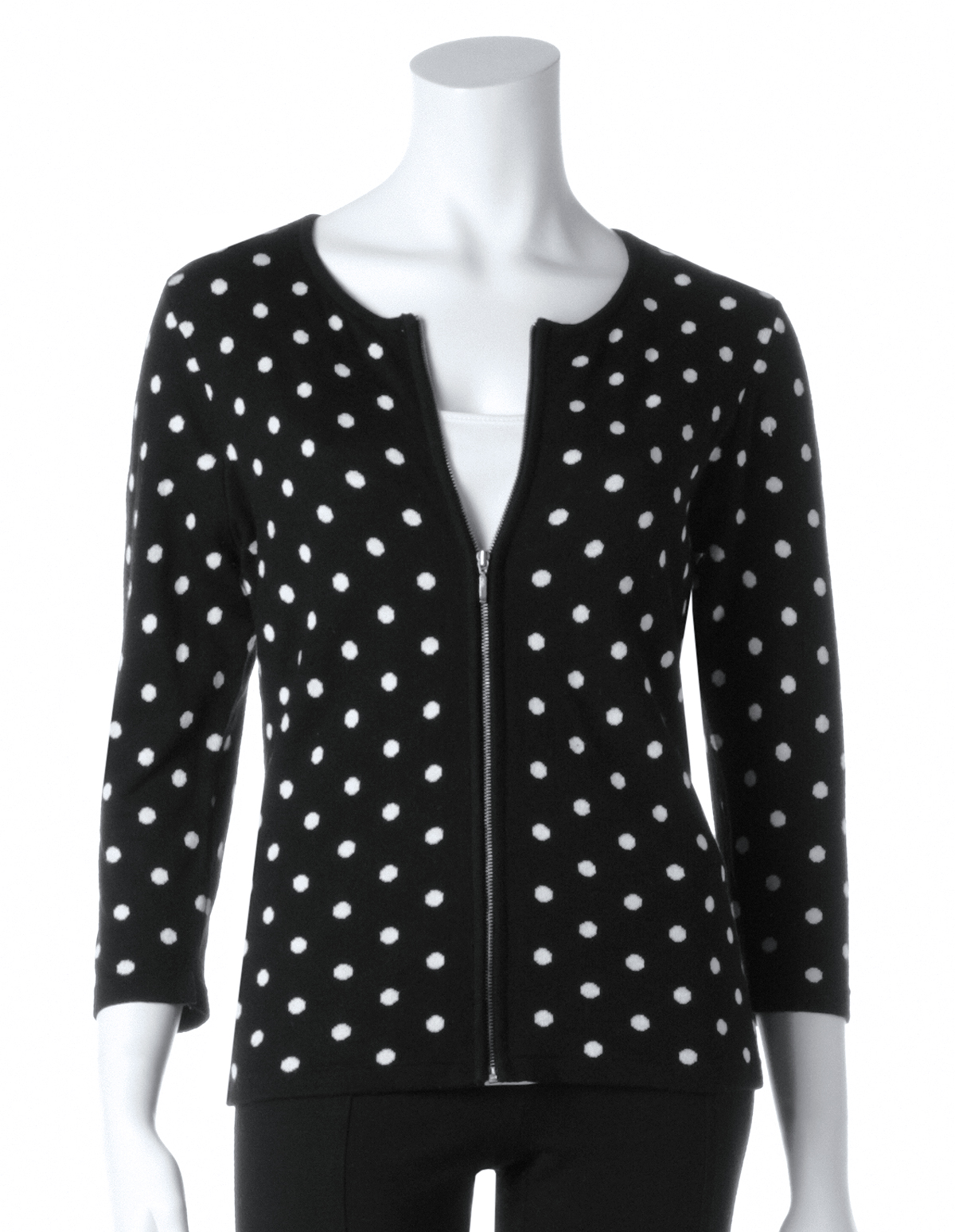 These polka dots hit the spot! This prep-inspired crew neck sweater style is constructed with stretchy-soft double knit teal fabric. A retro black polka dot print .