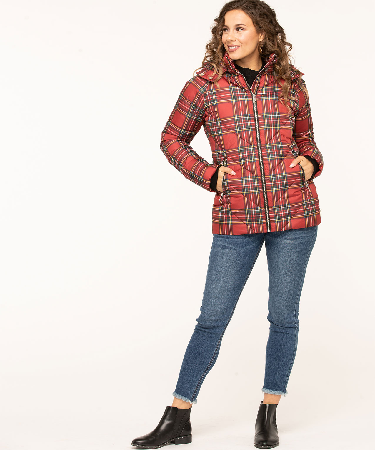 Printed Faux Down Puffer Jacket, Red Plaid, hi-res