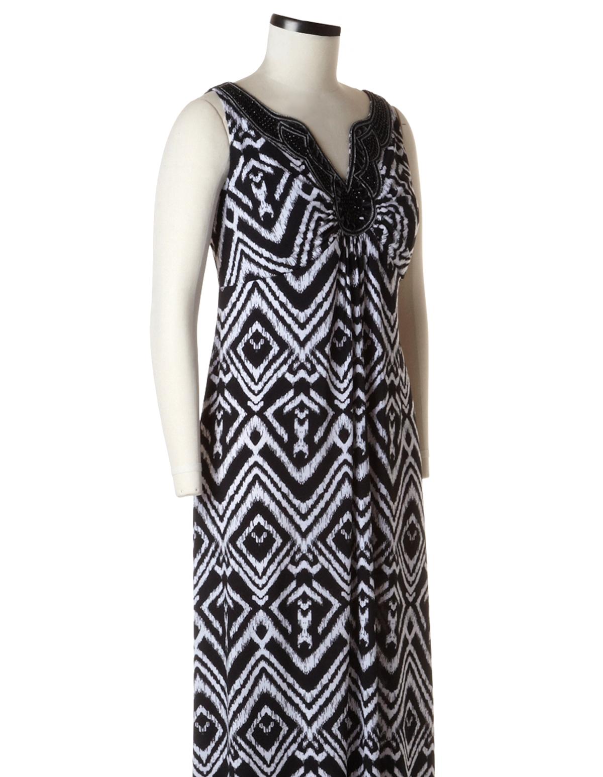 Black and white ikat dress plus