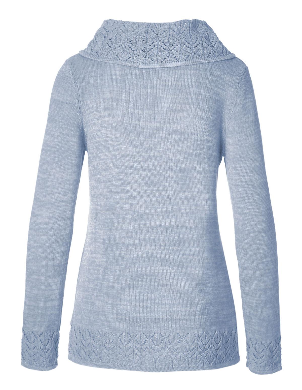 Soft Blue Crochet Hem Sweater | Cleo