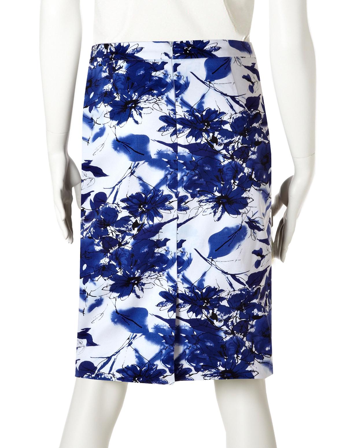 blue floral pencil skirt cleo