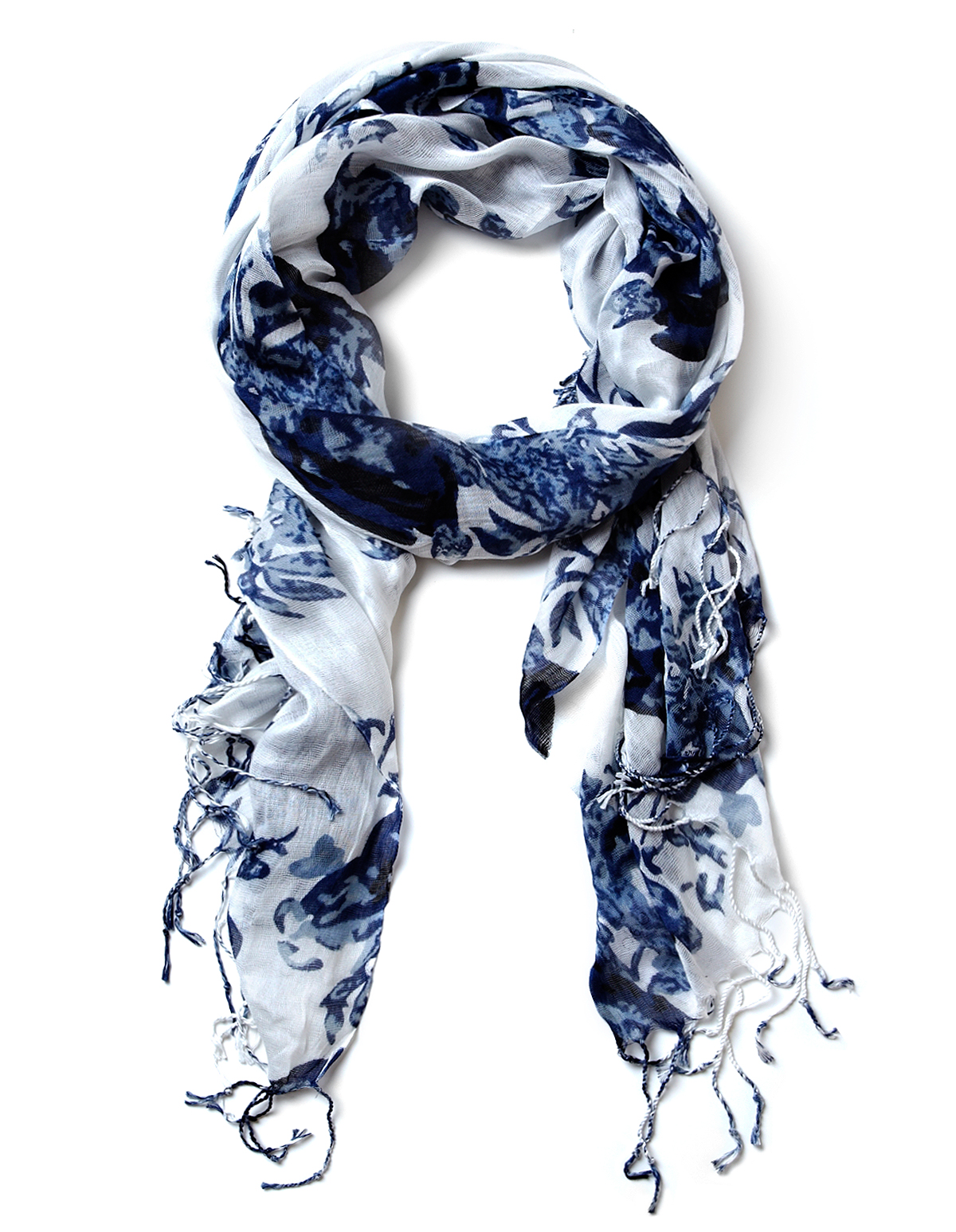 Blue Floral Print Scarf Cleo