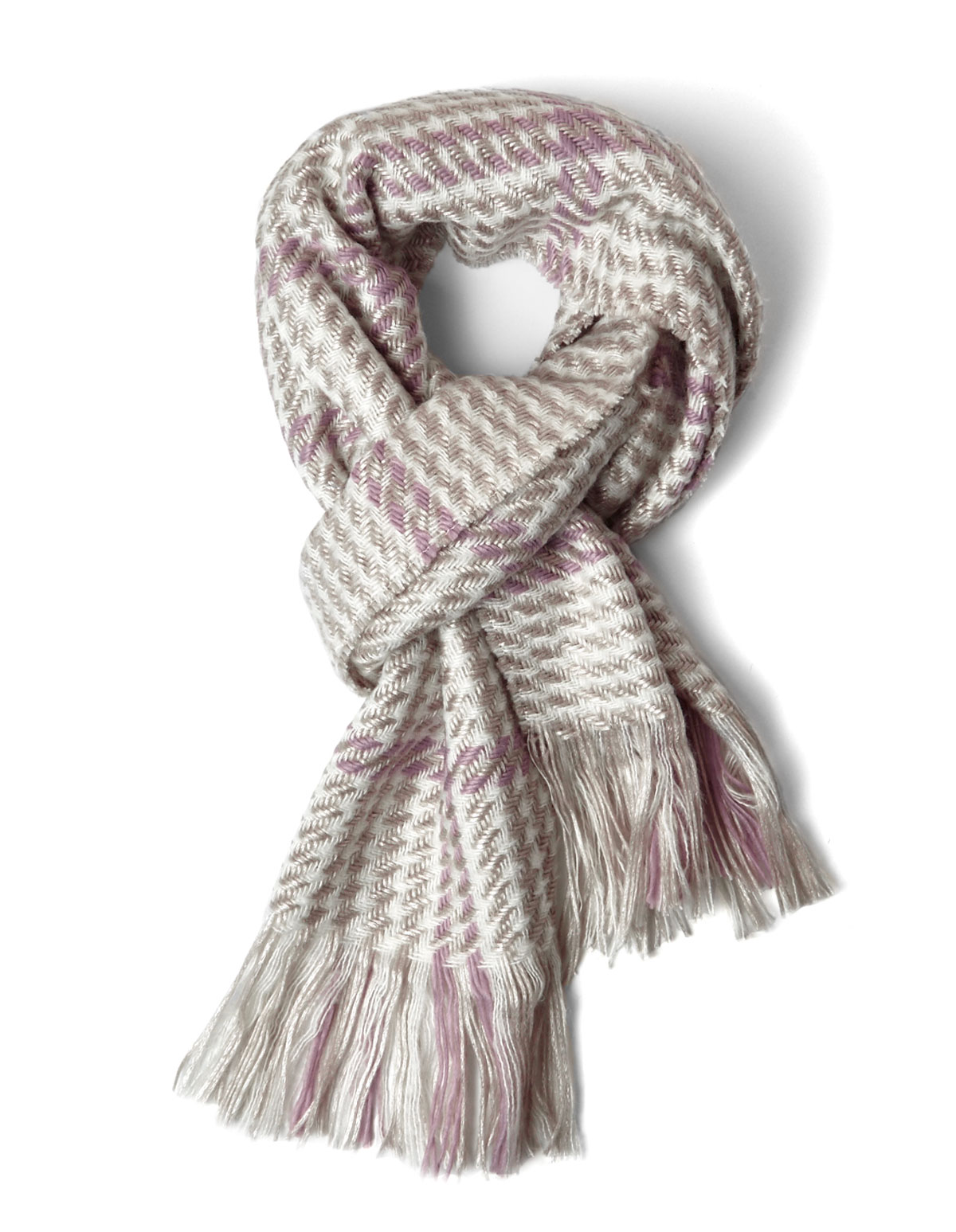 Neutral Woven Houndstooth Blanket Scarf Cleo