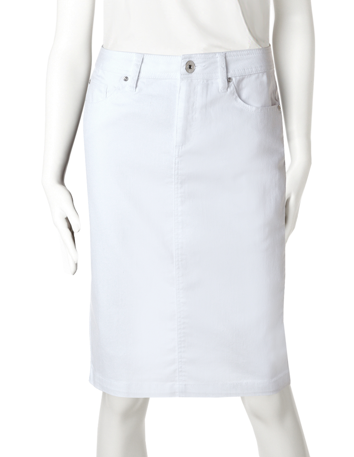 White Denim Pencil Skirt | Cleo