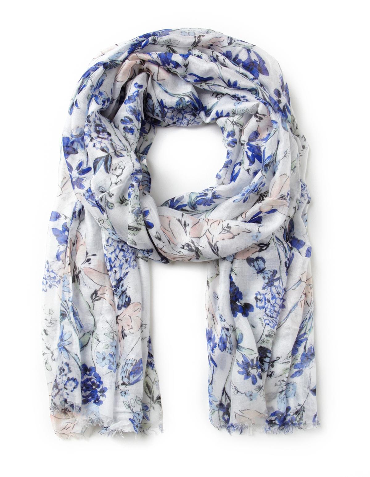 Blue Floral Scarf Cleo