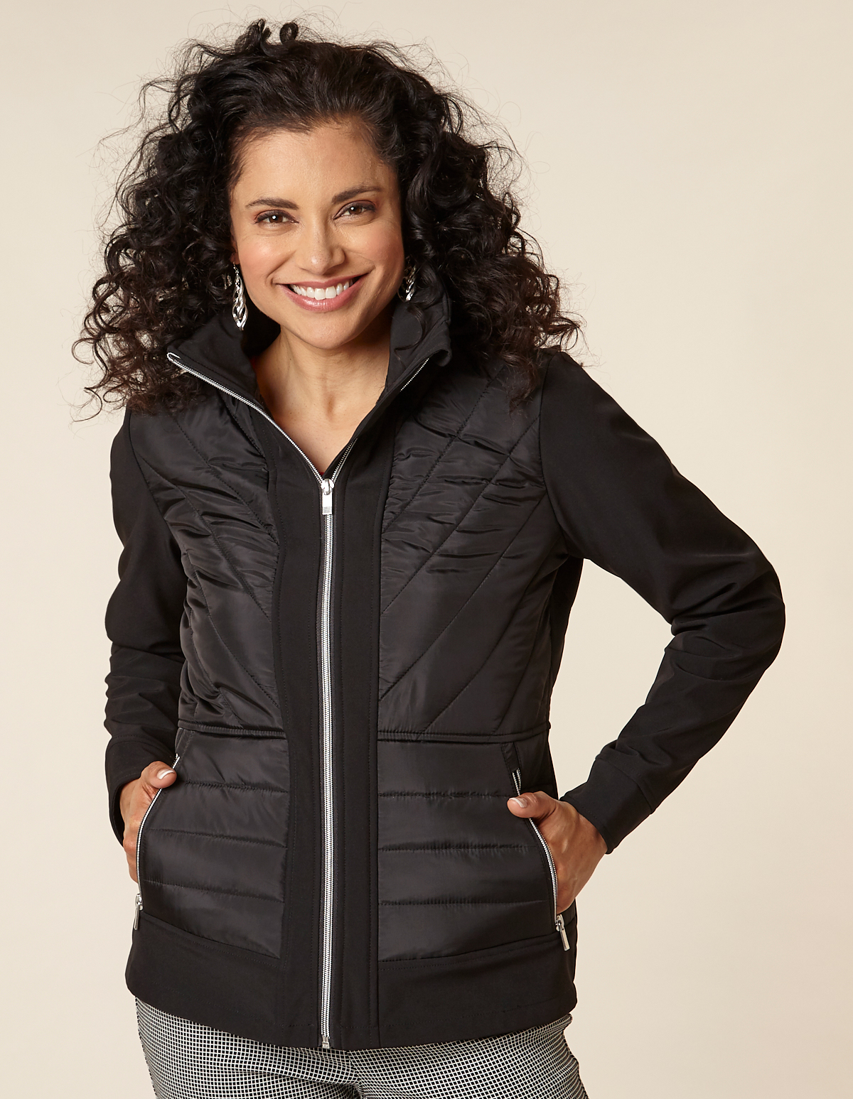 Black Mix-Media Short Coat, Black, hi-res