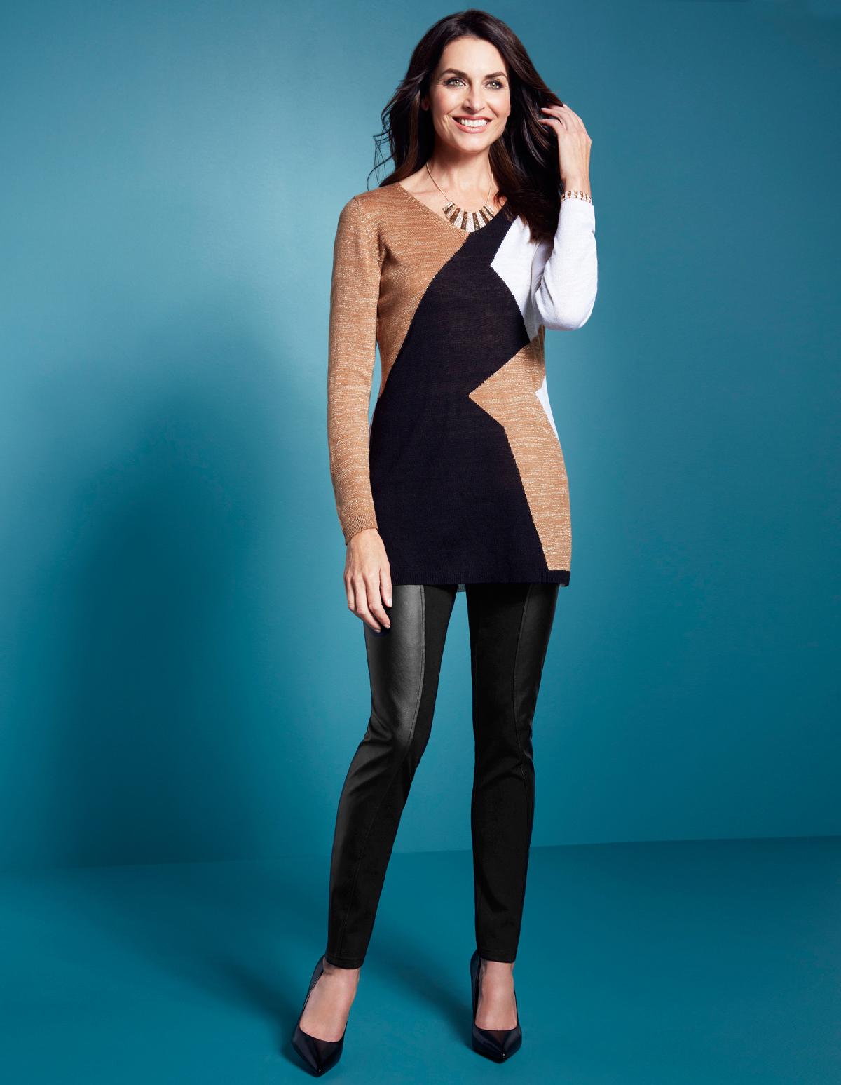 Colour Block Lurex Tunic Sweater | Cleo