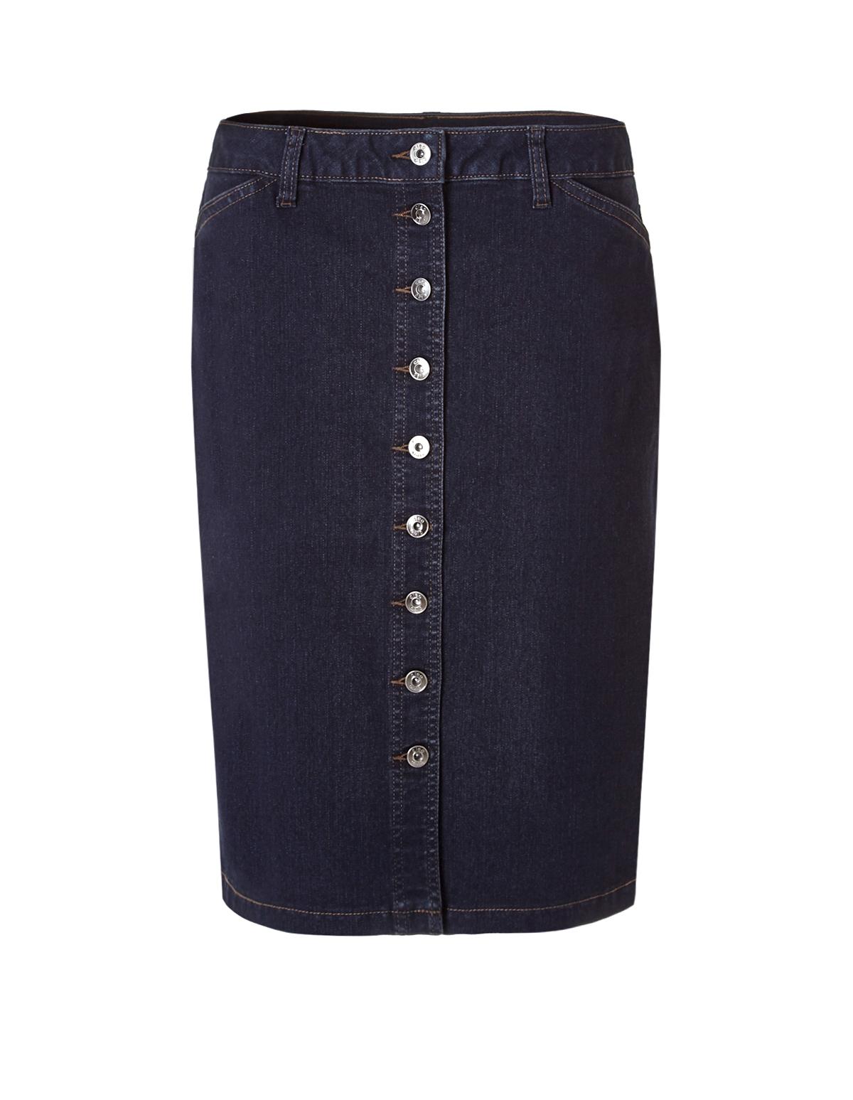 denim button front skirt cleo