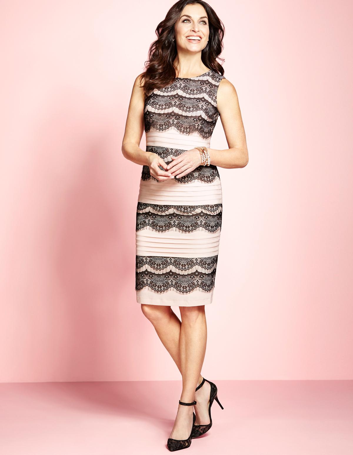 Light Blush Tiered Lace Shift Dress