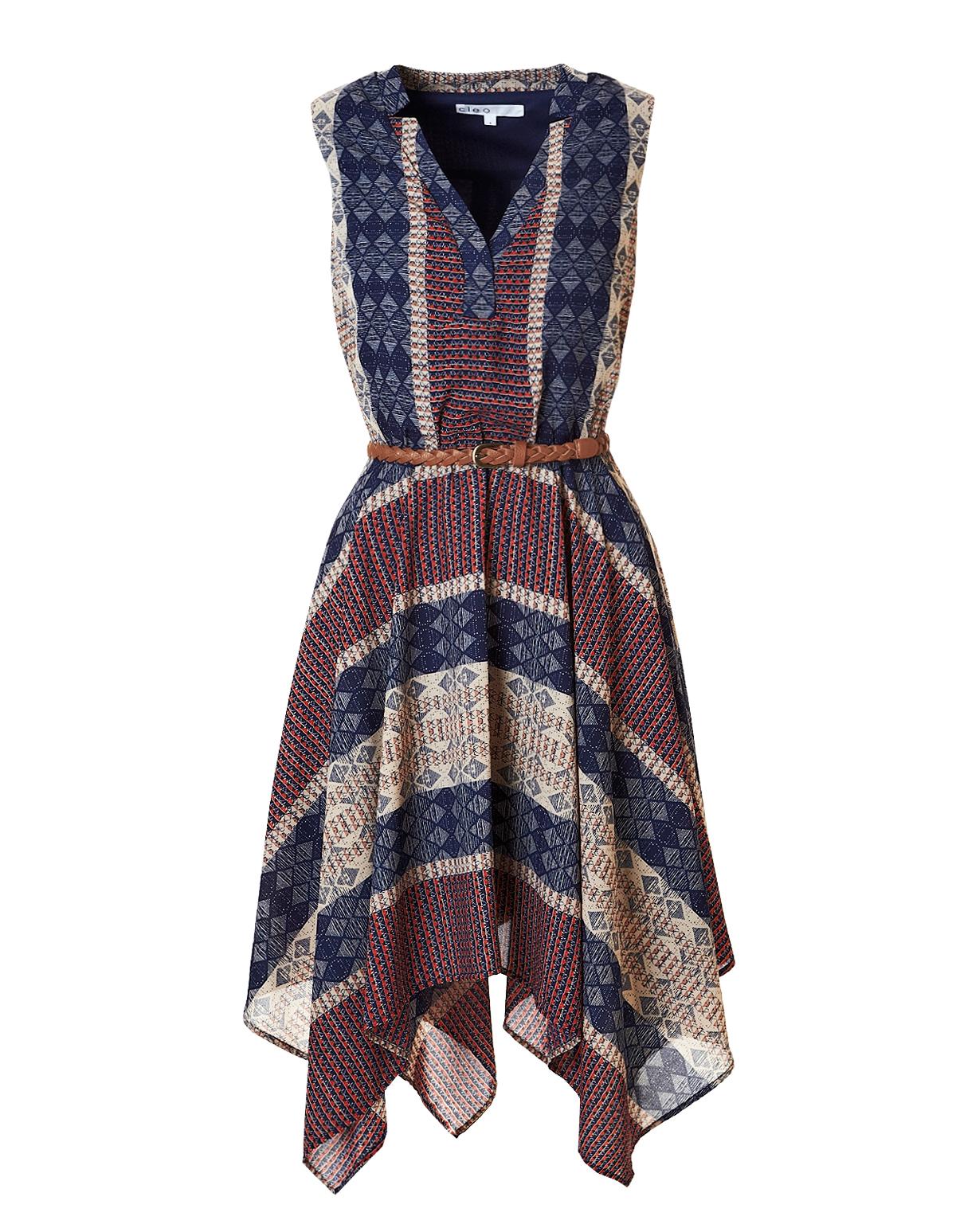 Handkerchief Hem Fit and Flare Dress  eaae215c75a4