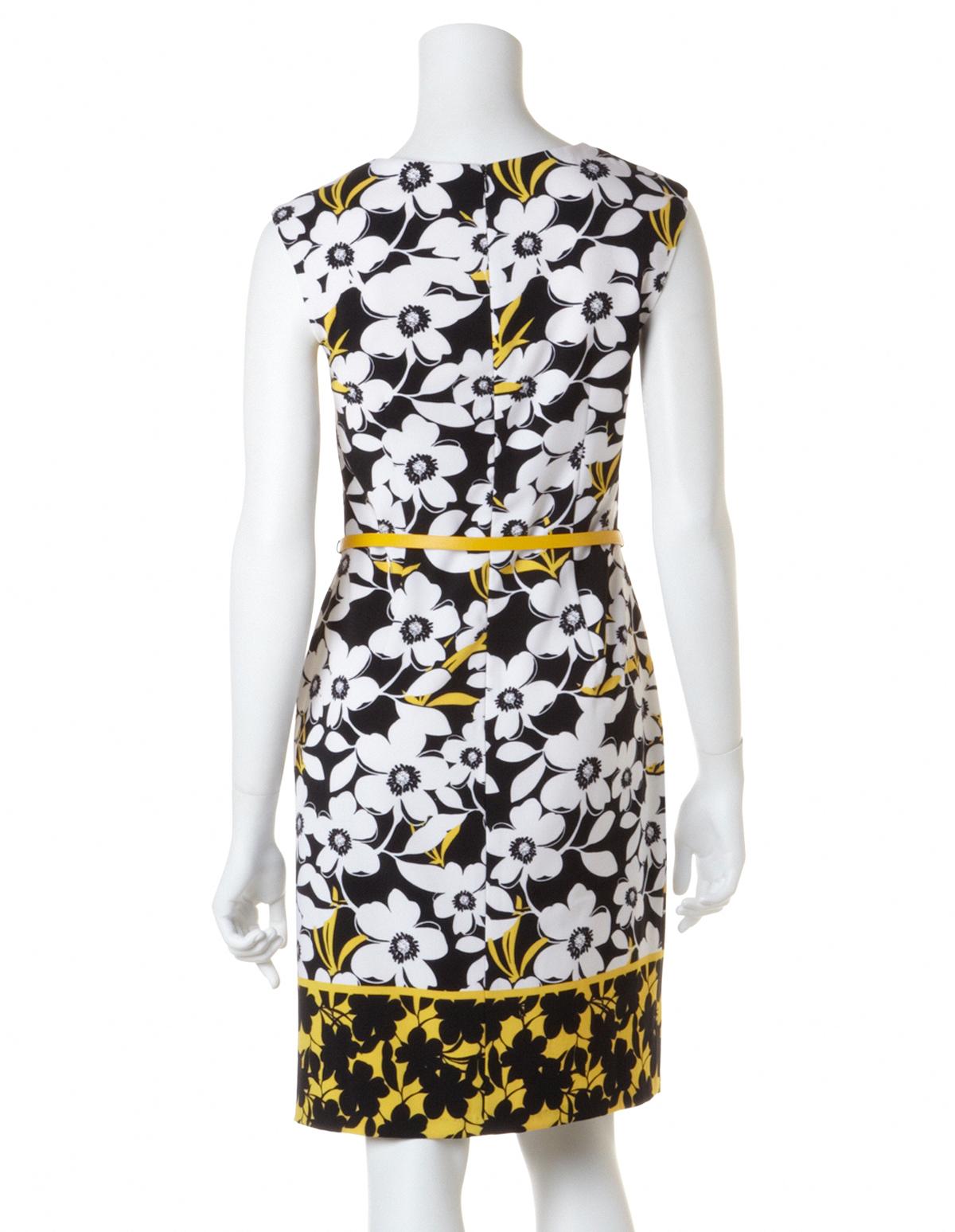9bdabde9f Yellow Daisy Shift Dress with Belt