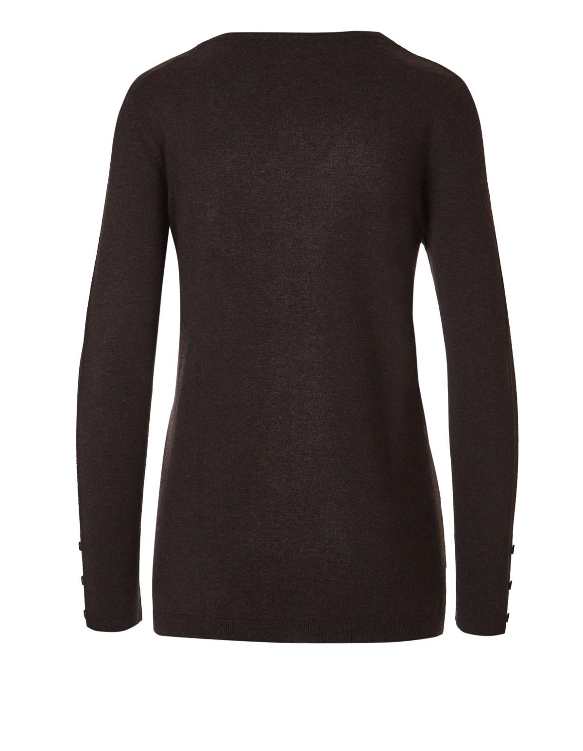 Dark Brown V-Neck Sweater | Cleo