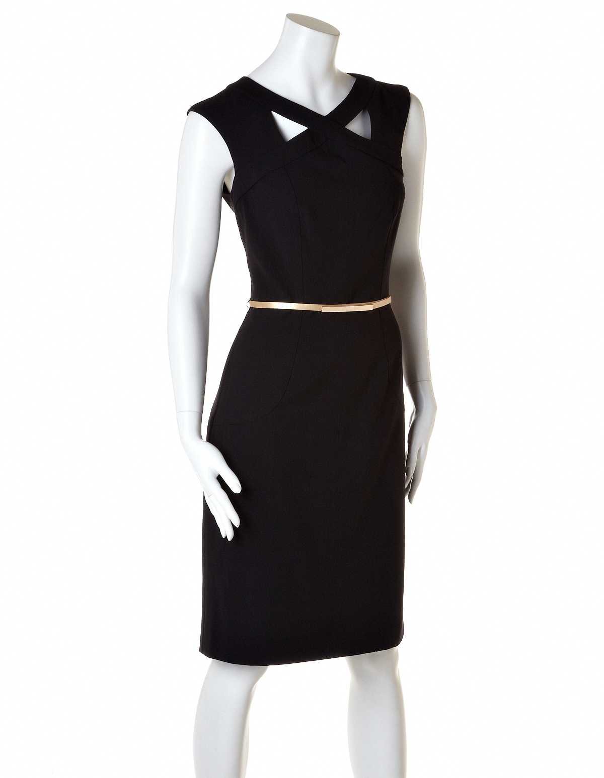 black shift dress with gold belt cleo