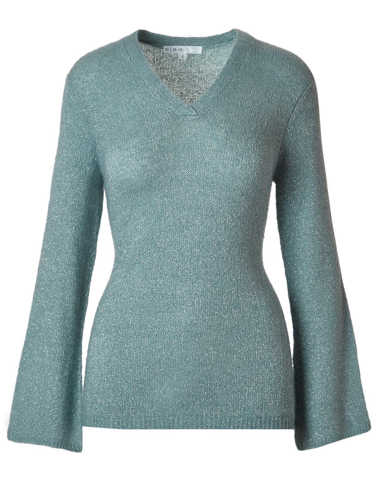 Light Teal V Neckline Shimmer Sweater Cleo