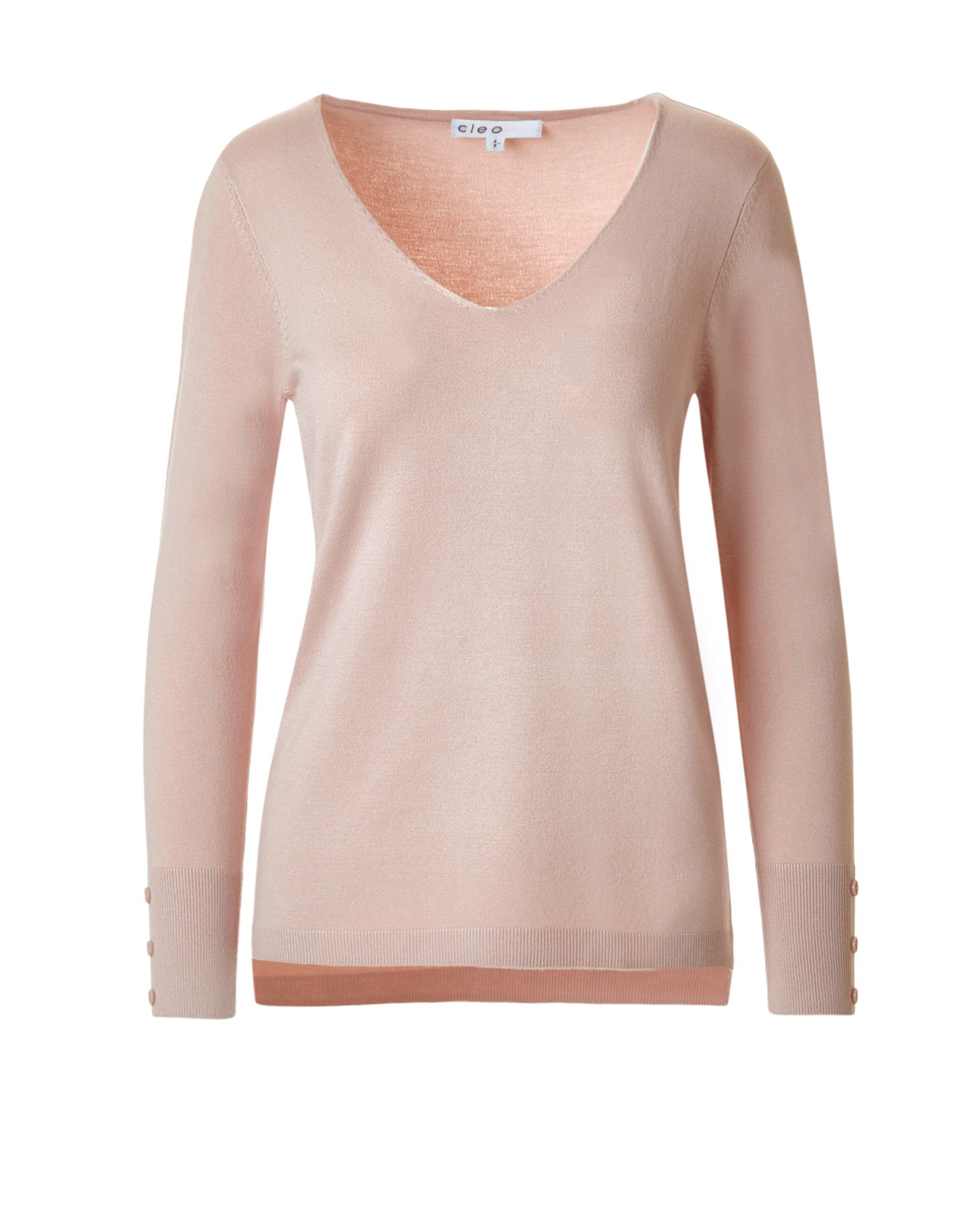 Dusty Pink V-Neck Sweater | Cleo