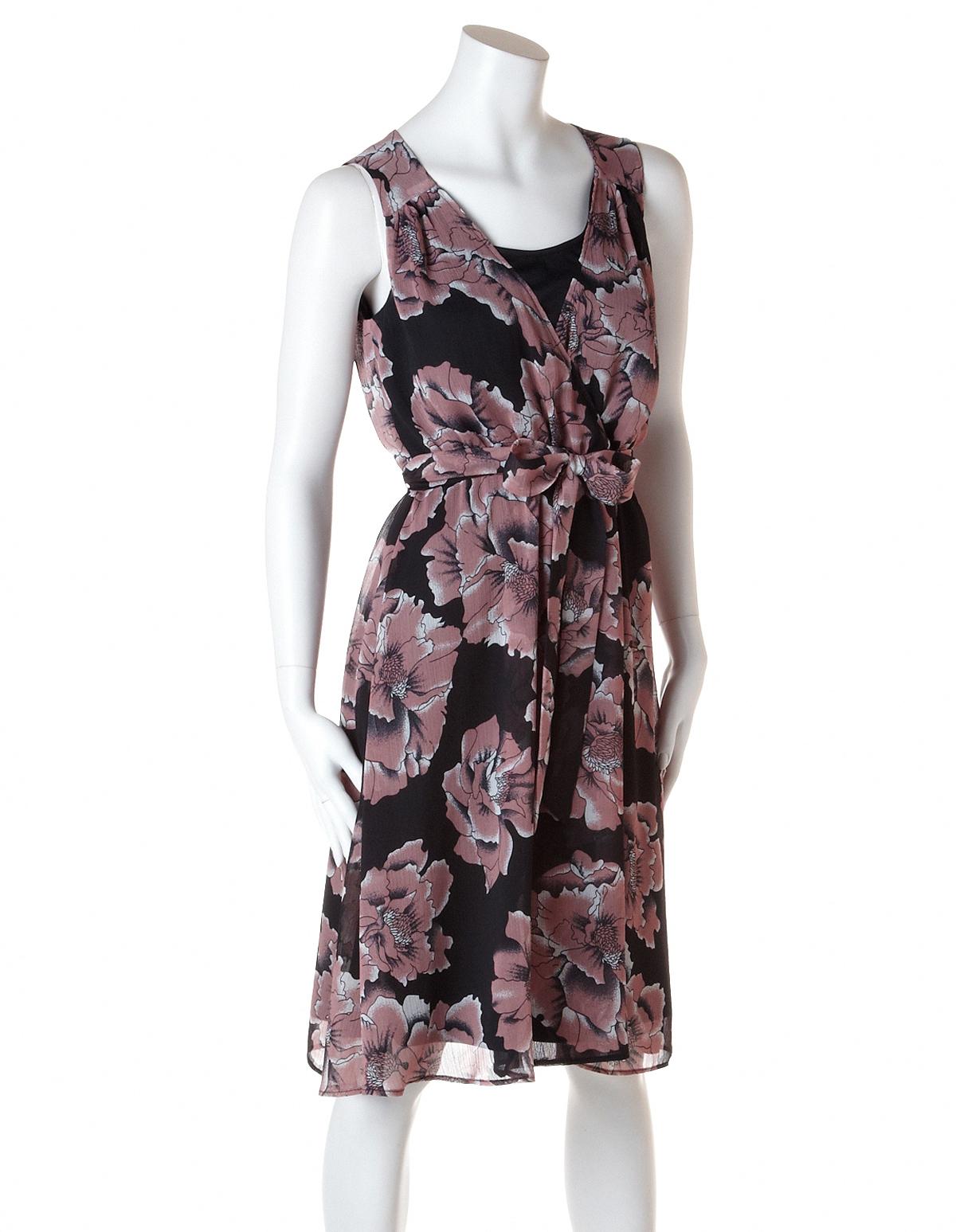 7855c7d4cd982 ... Blush Floral Fit and Flare Dress, Blush/Black/Ivory, hi-res ...