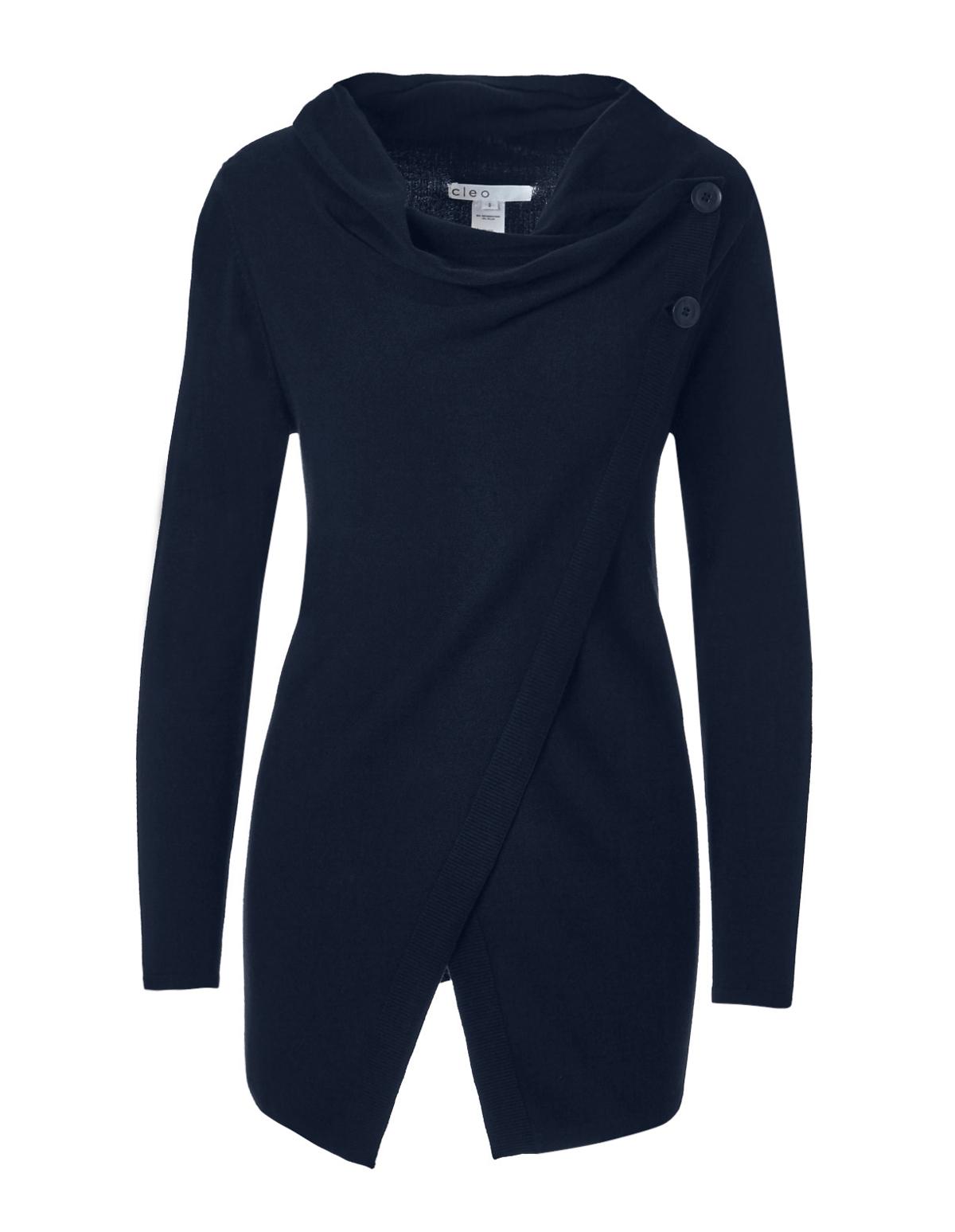 Navy Cowl Wrap Sweater | Cleo