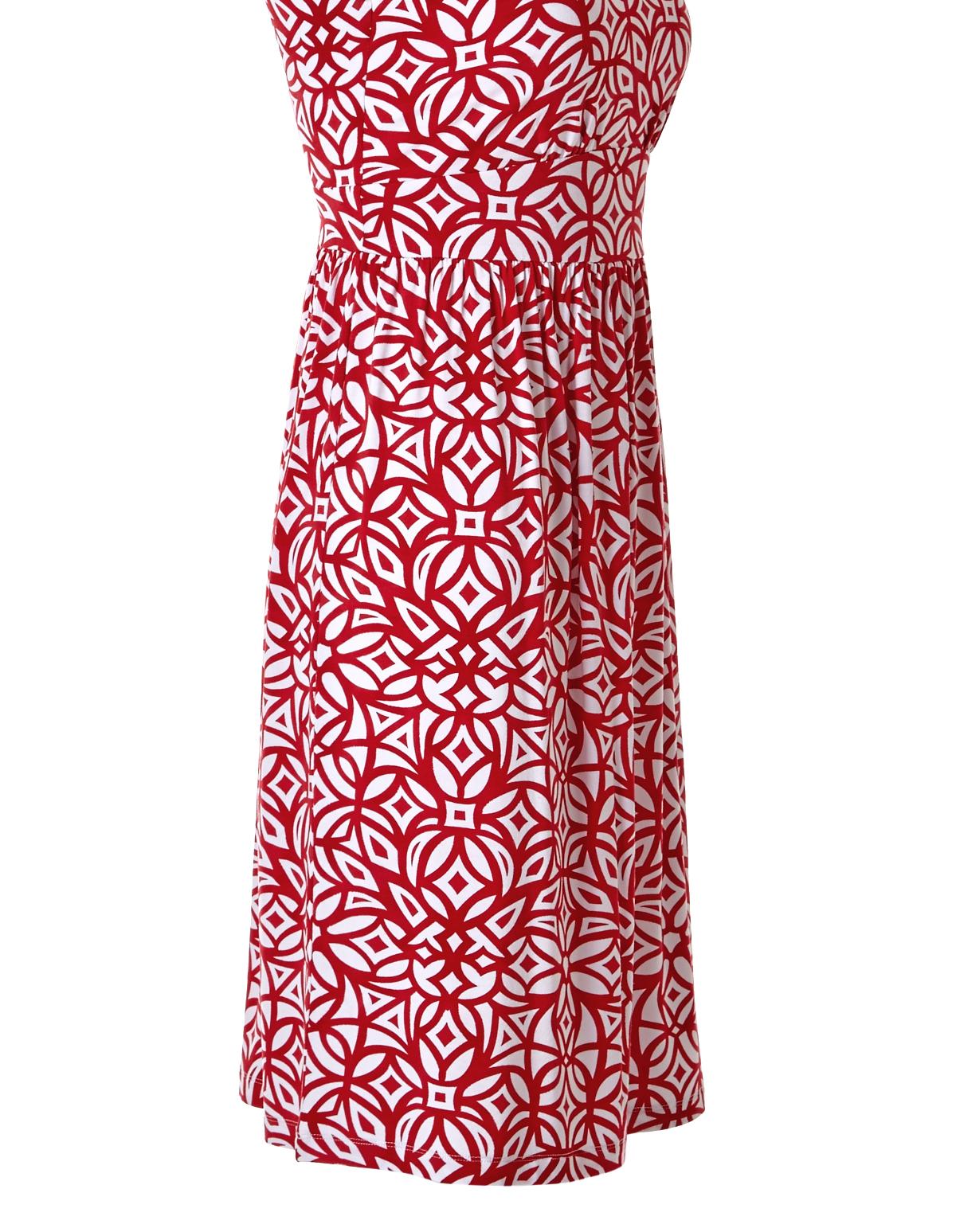 Red Print A Line Dress Cleo