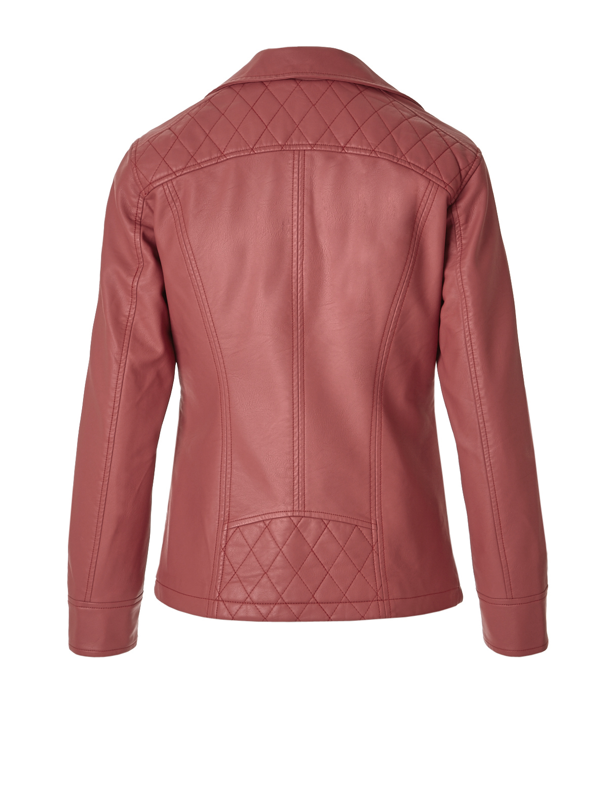 Terracotta Pink Pleather Jacket | Cleo