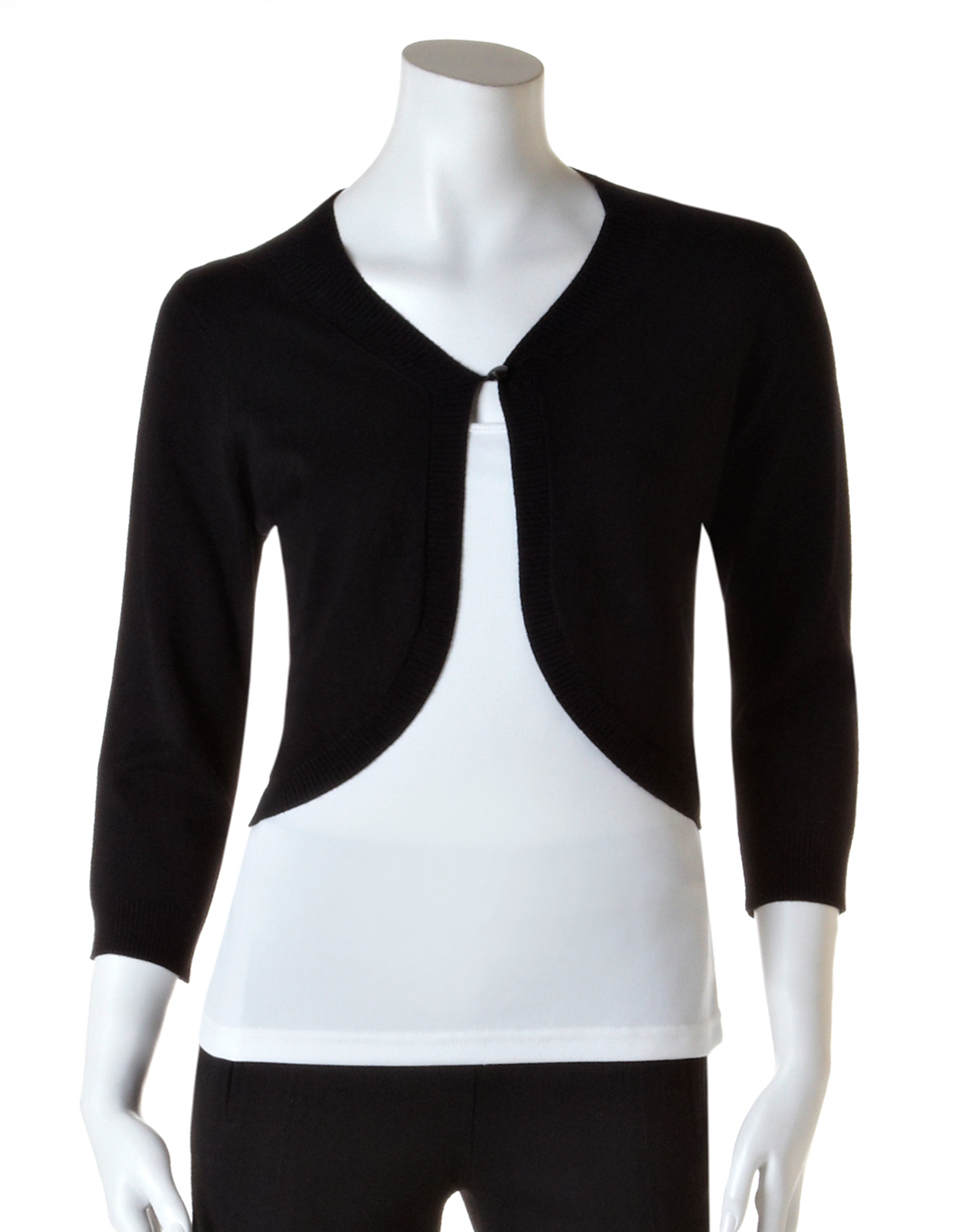 5f15b3db02 Open Front knit Shrug with Button, Black, hi-res
