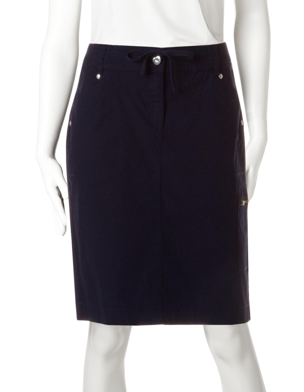 b42b9da56b Poplin Drawstring Skirt, Navy, hi-res