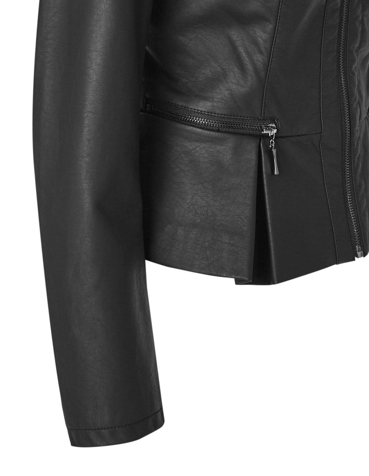 Black Peplum Faux Leather Jacket | Cleo