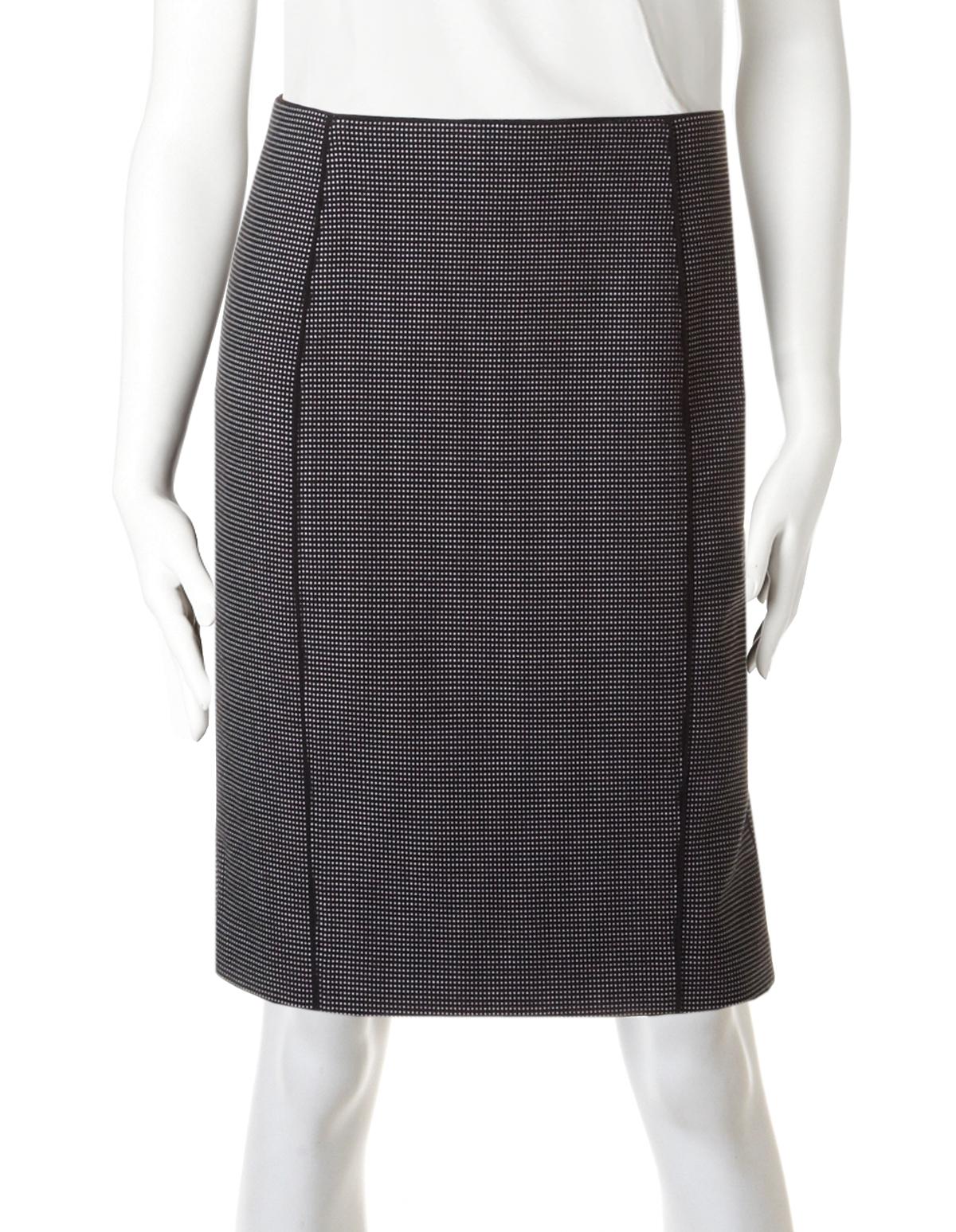 67401ab43 Birdseye Ruffle Hem Pencil Skirt, Black/White, hi-res