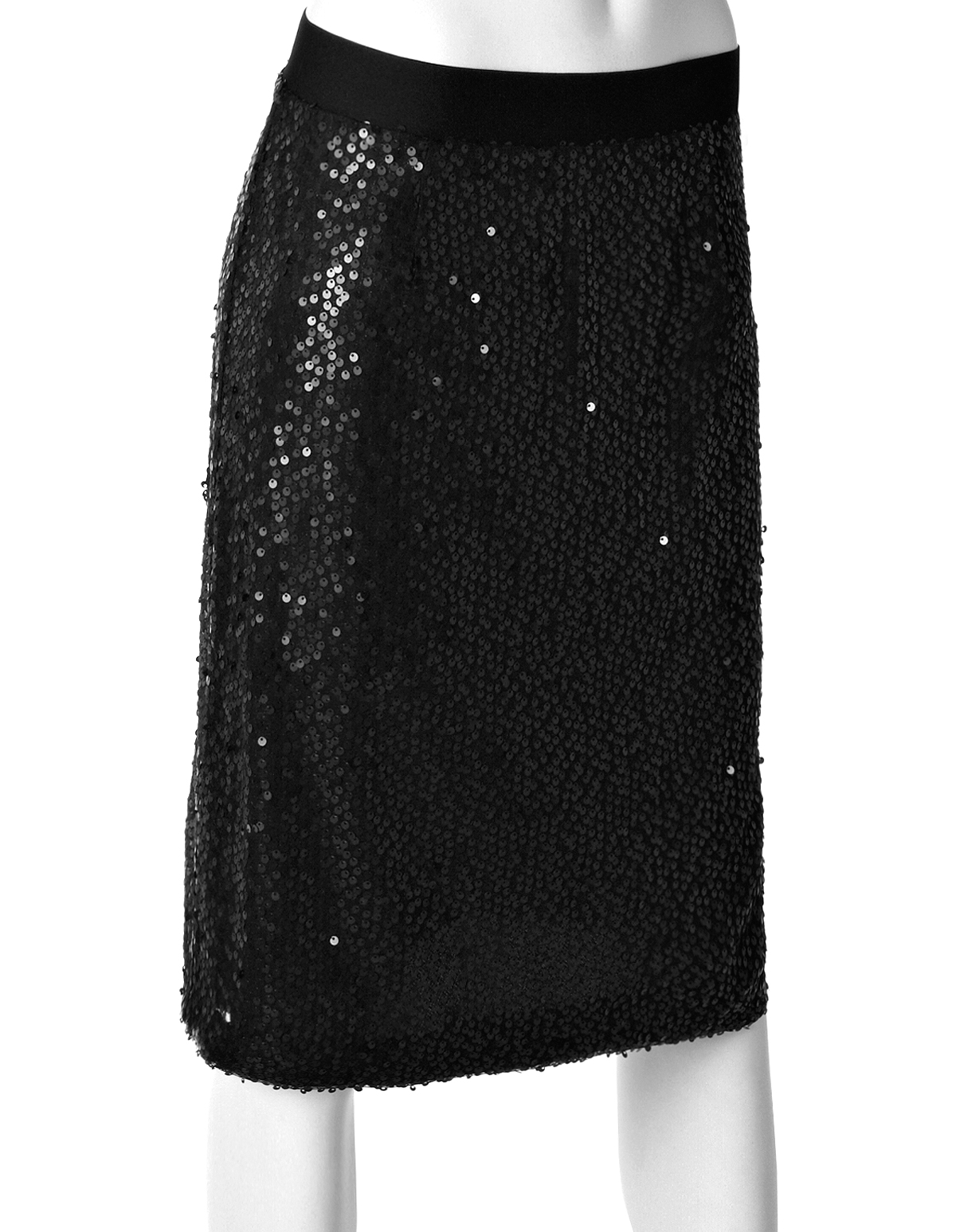 Black Sequin Pencil Skirt | Cleo