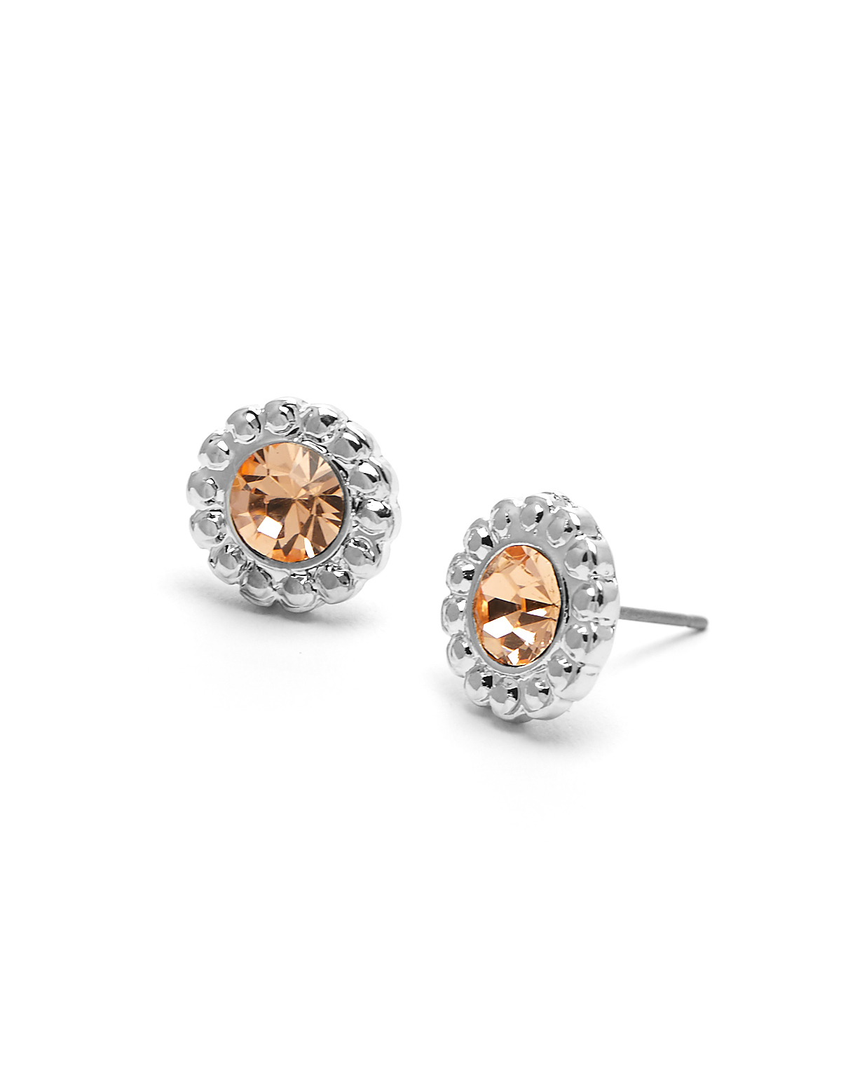 Genuine Crystal Peach Earring, Orange/Silver, hi-res