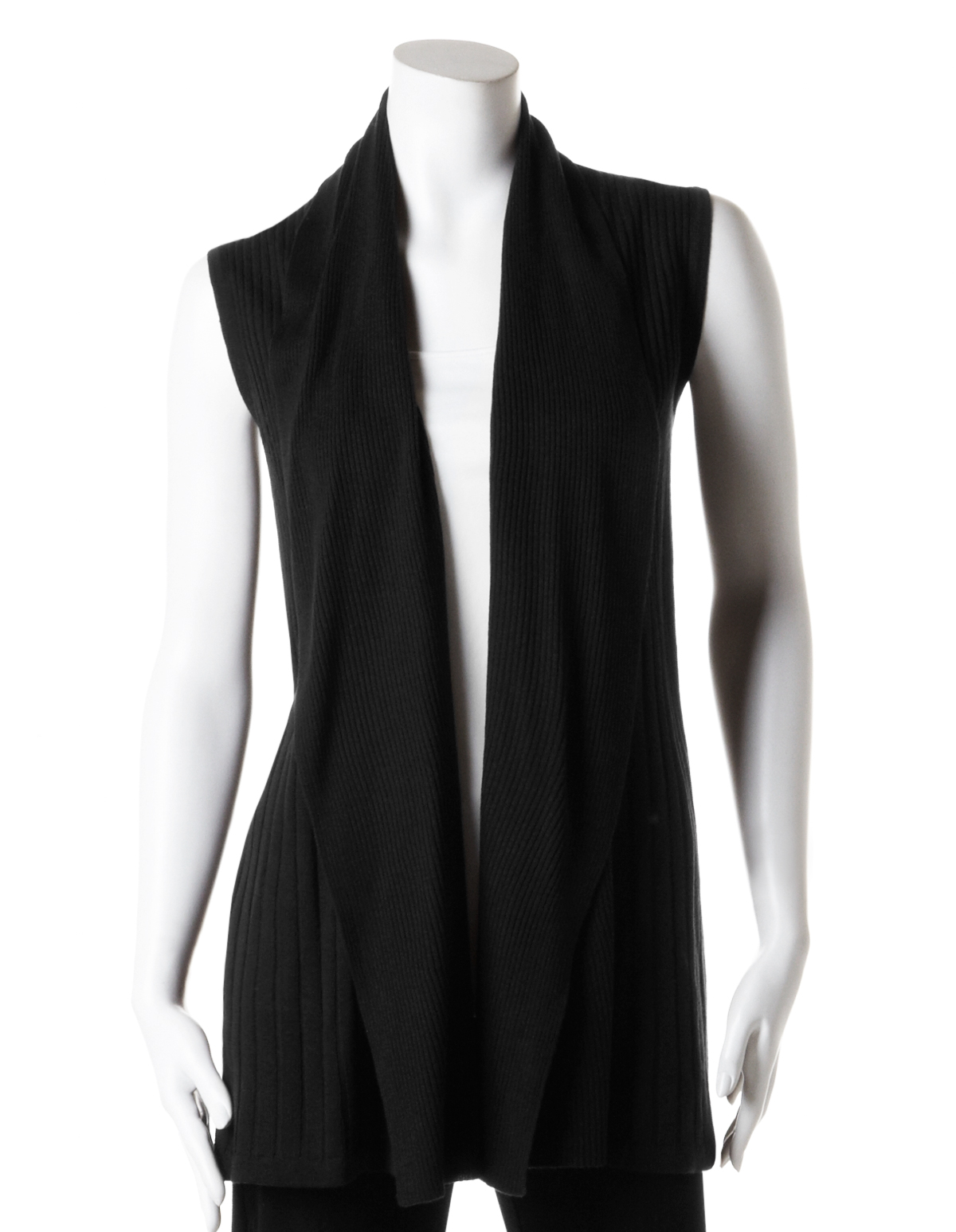 6670eb07cd6c Long Open Drape Sweater Vest, Black, hi-res