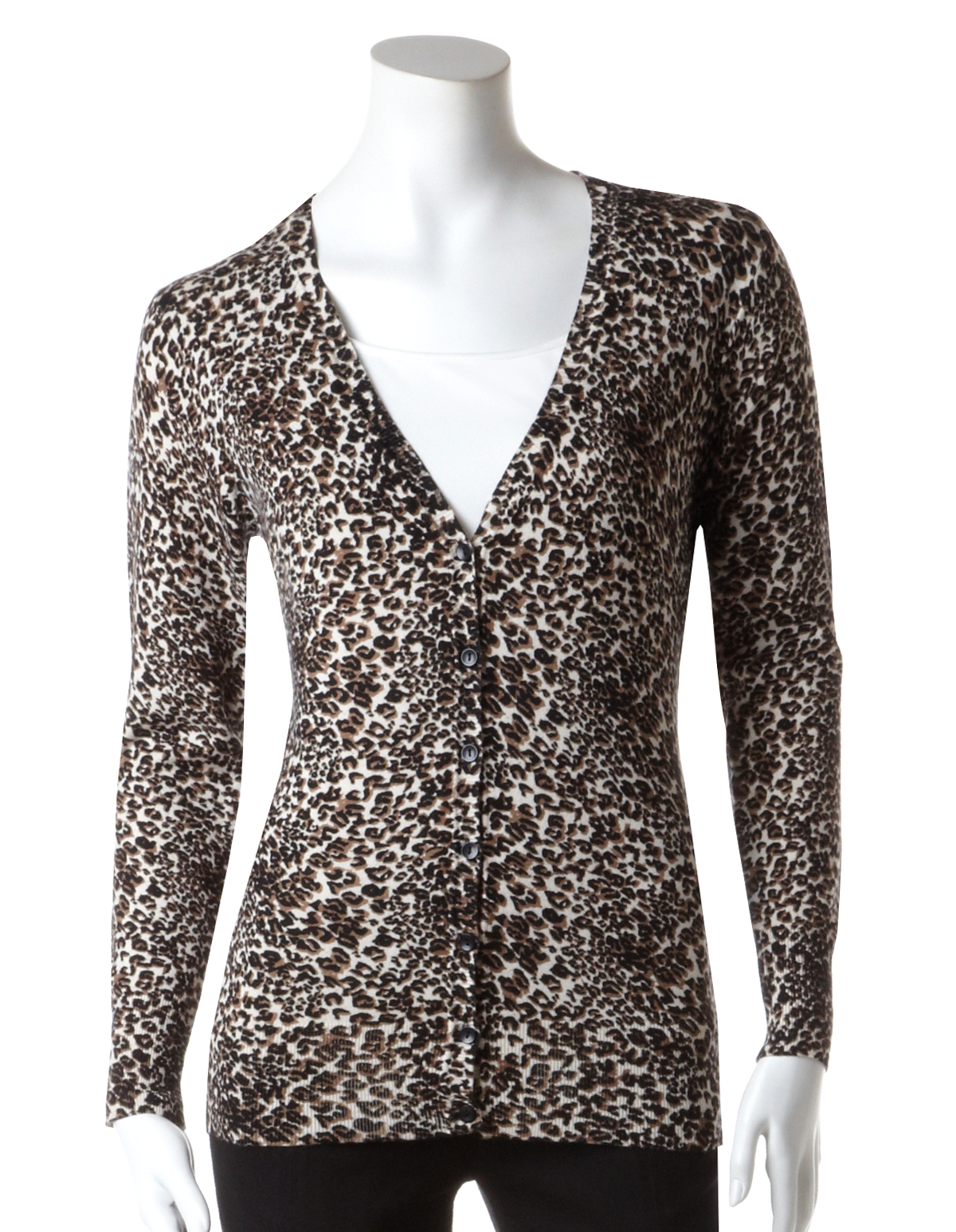 Brown Animal Print V Neck Cardigan | Cleo