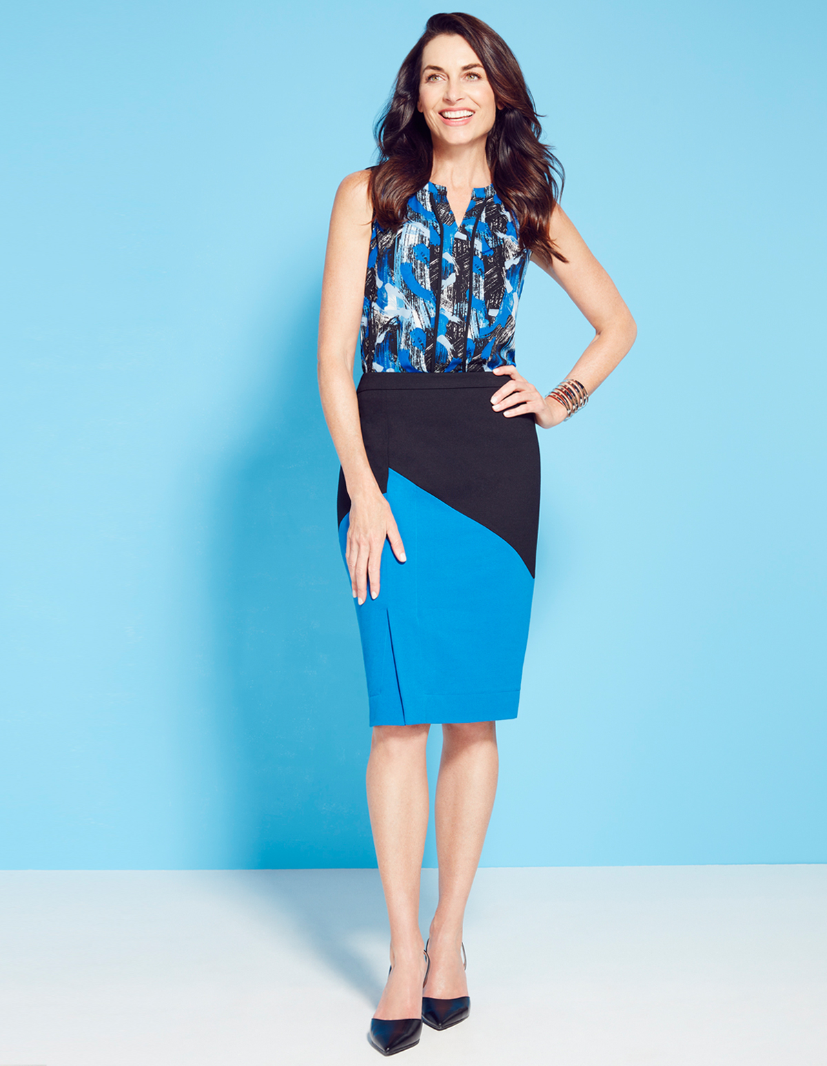 Blue Colour Block Pencil Skirt | Cleo