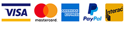 Visa, Mastercard, American Express, Paypal and interac